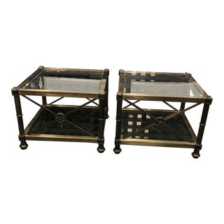 Antique Mid Century Brass End Tables - a Pair For Sale