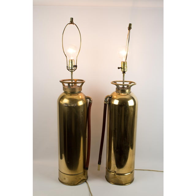 Brass Fire Extinguisher Lamps - a Pair For Sale - Image 11 of 13