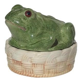 Vintage Mid-Century Italian Ceramic Majolica Frog Lidded Box For Sale