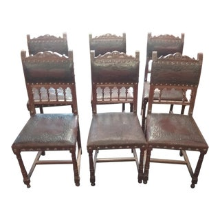 1800s Eastlake Leather & Oak Chairs- Set of 6 For Sale