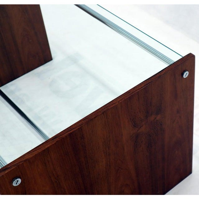 Mid-Century Danish Modern Rosewood Chrome Glass Top Coffee Side Table For Sale - Image 10 of 11