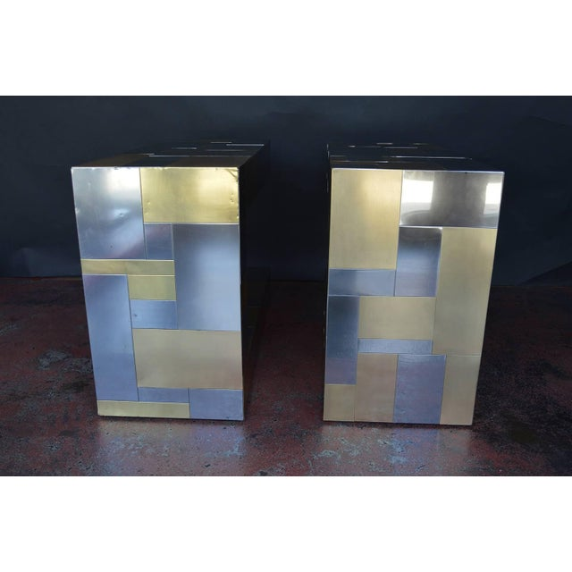 Metal Pair of Paul Evans Cityscape Side Tables For Sale - Image 7 of 9