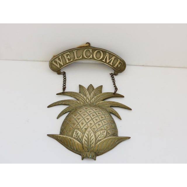 Vintage Brass Pineapple Welcome Sign - Image 2 of 5