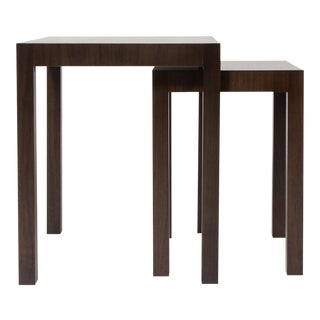 Two bespoke walnut nesting tables with extra freestanding table For Sale