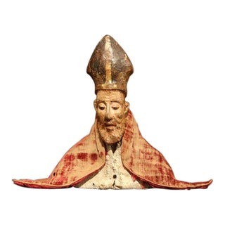 17th Century Spanish Carved Walnut Polychrome Bishop Bust With Velvet Cassock For Sale