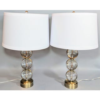 Global Views Crystal Ball Lamp in Brass With Linen & Gold Lined Shade - a Pair Preview