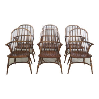 English Made Windsor Style Arm Dining Chairs - Set of 8 For Sale