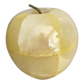 Vintage Yellow Onyx Apple Paper Weight For Sale