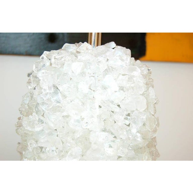 Glass Rock Table Lamps by Swank Lighting White Ice For Sale - Image 9 of 10
