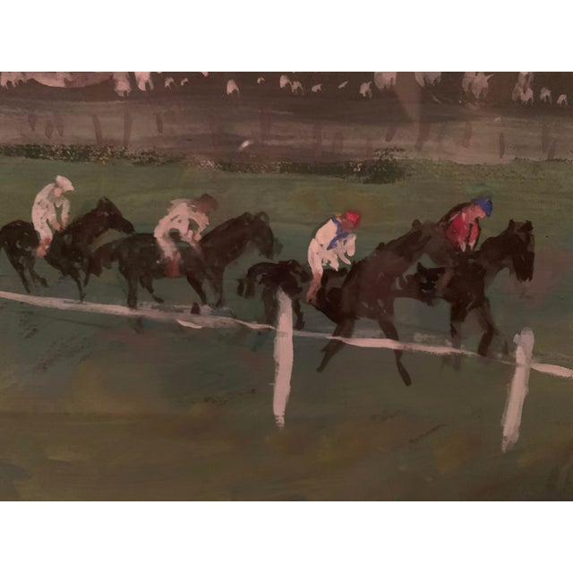 1970s Horse Race on the Green Track Framed Original Painting Signed by the Artist For Sale - Image 4 of 13