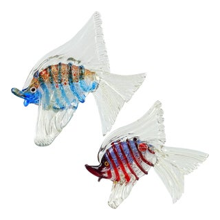 Cenedese Murano Blue Red, Silver and Gold Flecks Italian Art Glass Fish Sculptures - a Pair For Sale