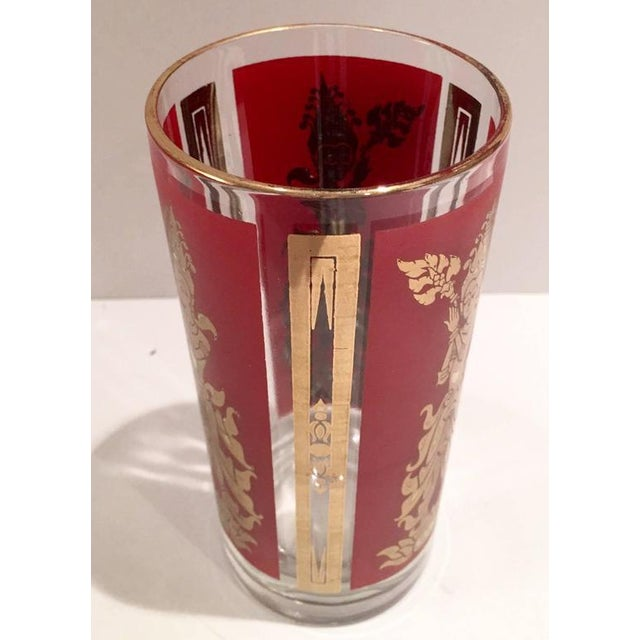 """Glass Culver Mid-Century Red & 22k Gold """"Thai Goddess"""" Drinks - Set of 9 For Sale - Image 7 of 8"""