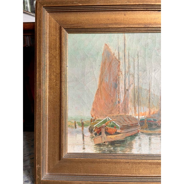 19th Century Dutch Oil Painting of a Canal Scene in the Polders, Framed For Sale In Minneapolis - Image 6 of 11