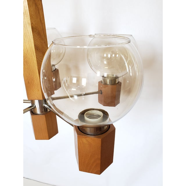 Mid Century Modern Danish Teak Wood and Chrome Chandelier For Sale In New York - Image 6 of 12