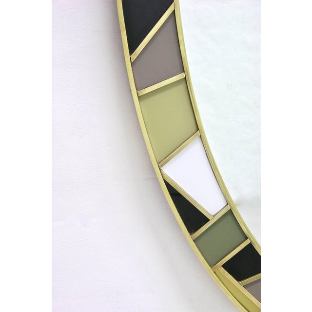 1970s Italian Modern Oval Mirror in Green Grey Blue Yellow Black White and Brass For Sale In New York - Image 6 of 10