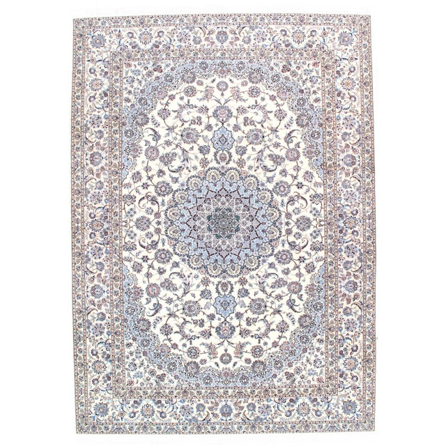 """2010s Pasargad N Y Persian Nain 6-Lines Hand-Knotted Lamb's Wool & Silk Rug - 8'2"""" X 11'6"""" For Sale - Image 5 of 5"""