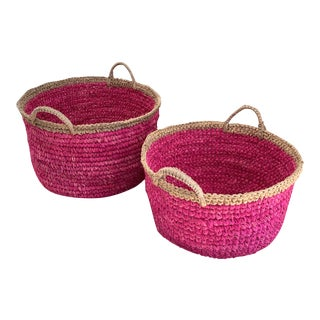Pink and Natural Baskets- a Pair For Sale