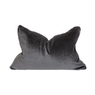 Contemporary Charcoal Gray Velvet Pillow With White Welt - 16 X 24 For Sale