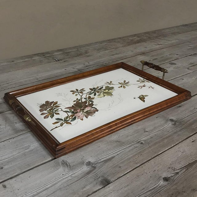 Antique Hand-Painted Tile Serving Tray For Sale - Image 4 of 13
