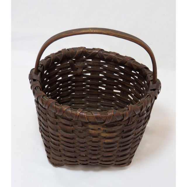 Antique handmade - woven country primitive splint basket from the state of Maine. Made out of indigenous brown ash and...