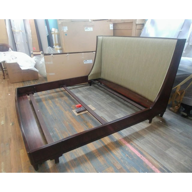 Henredon Furniture Barbara Barry graceful walnut upholstered king platform/low profile bed. Sale includes one complete...