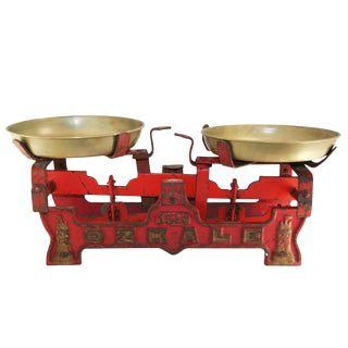 Vintage Red Turkish Table Scale For Sale
