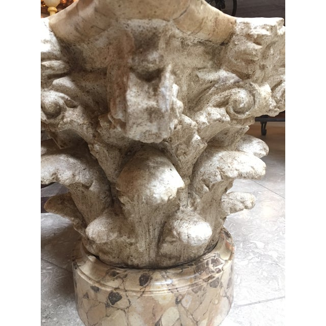 An Exuberant American Painted Plaster Corinthian Capital With Faux Marble Base and Top For Sale - Image 4 of 5