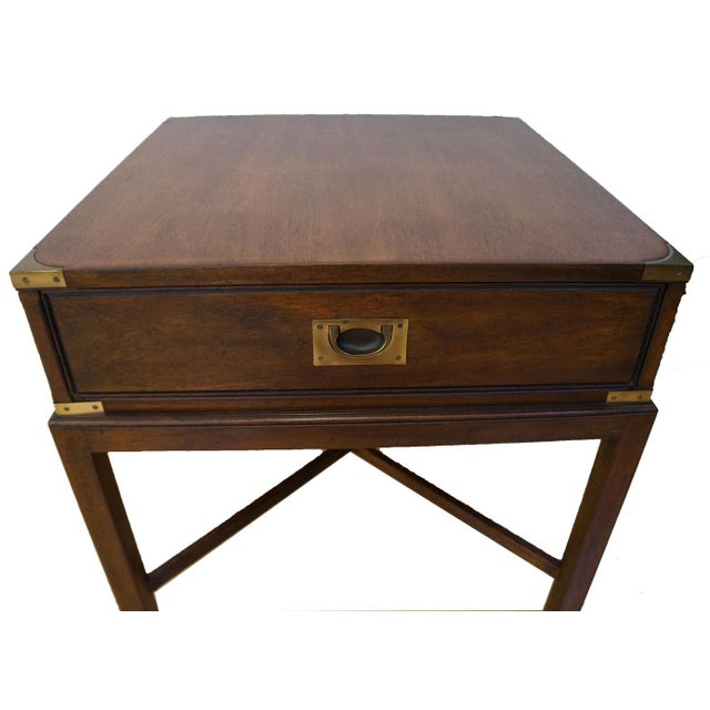 Vintage Campaign-Style Heritage Side Table - Image 2 of 5