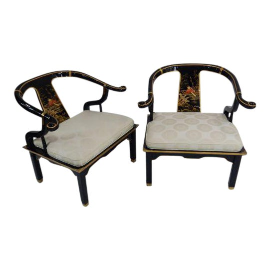 Century Black & Gold Chinoiserie Horseshoe Back Chairs - A Pair - Image 1 of 11