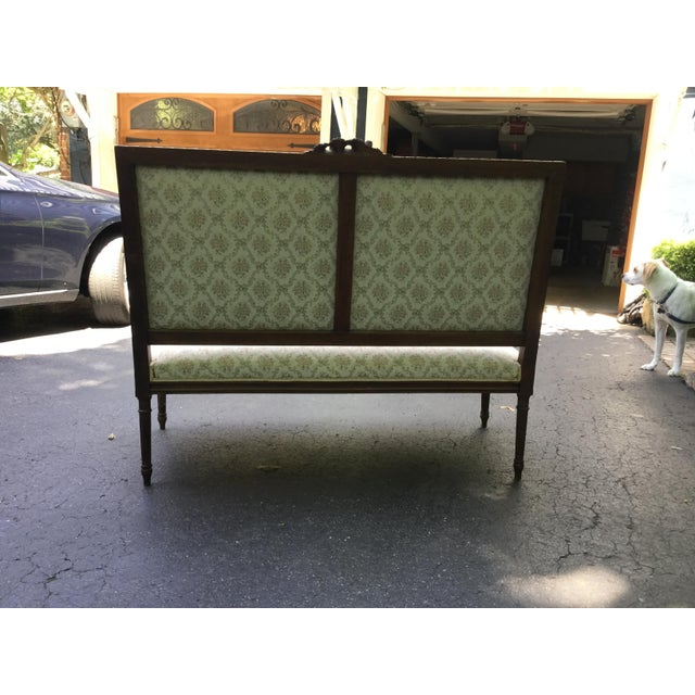 19th C. Louis XVI Style Walnut Settee For Sale - Image 4 of 9