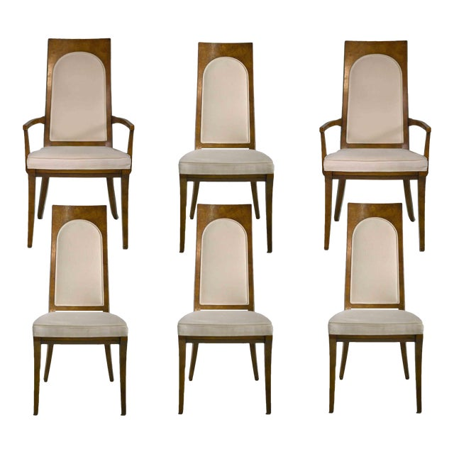 1960s Hollywood Regency Amboyna Wood Dining Chairs by Mastercraft - Set of 6 For Sale