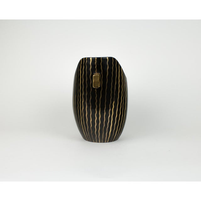 1960s Mid Century Italian Striped Black and Gold Vase For Sale - Image 5 of 13