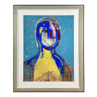1970 Abstract Portrait Mixed-Media Painting by E.J. Hartmann, Framed For Sale