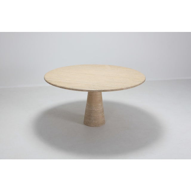 1970s Angelo Mangiarotti Round Travertine Dining Table For Sale - Image 5 of 10