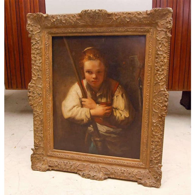 European School Rembrandts Girl With A Broom Portrait Painting