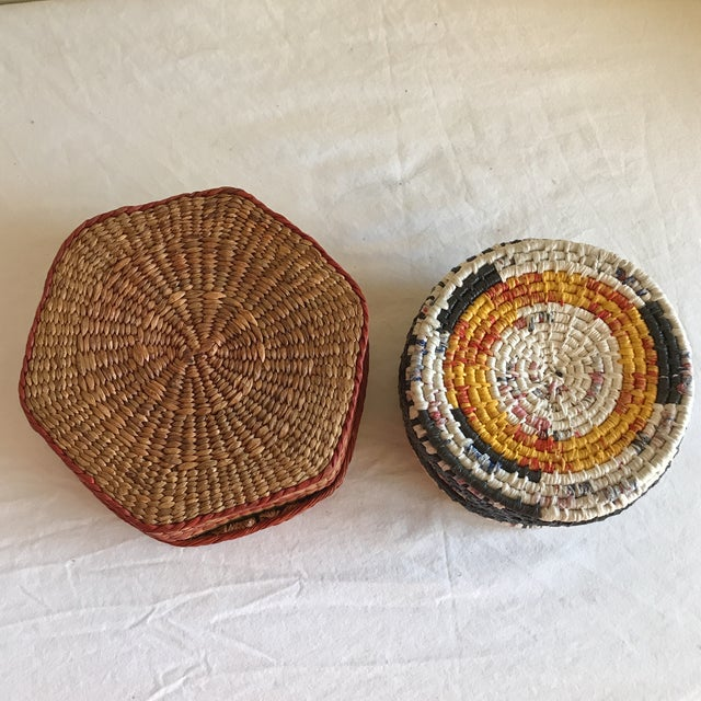 Natural Woven Boho Basket Boxes - A Pair - Image 8 of 10