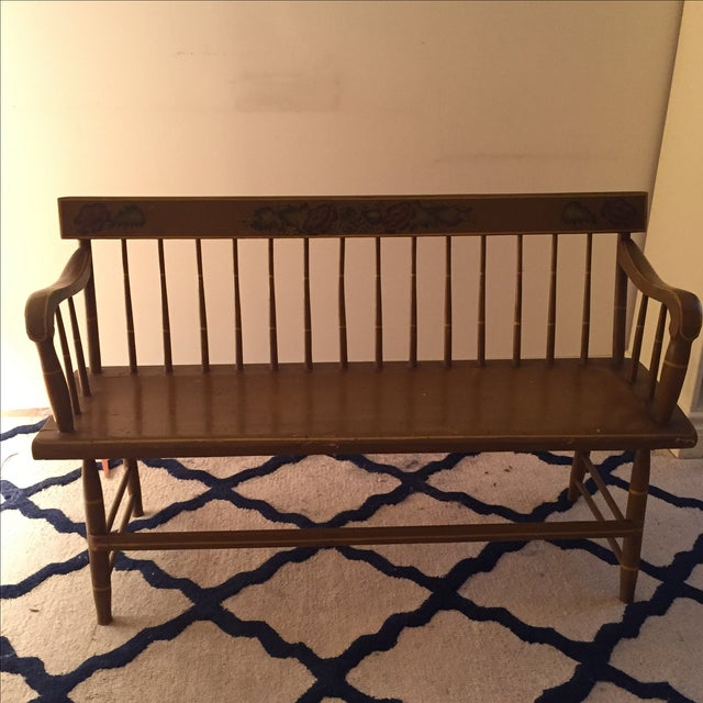 Antique Bench with Floral Painting - Image 3 of 4