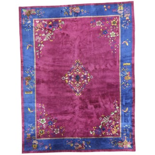 Early 20th Century Antique Chinese Rug - 8′10″ × 11′6″ For Sale
