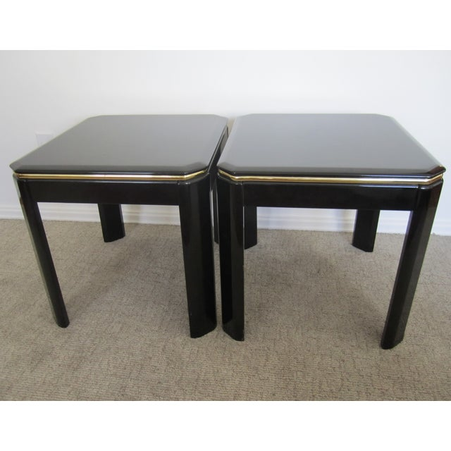 Vintage Modern Black Lacquer & Brass Tables - Pair - Image 10 of 10