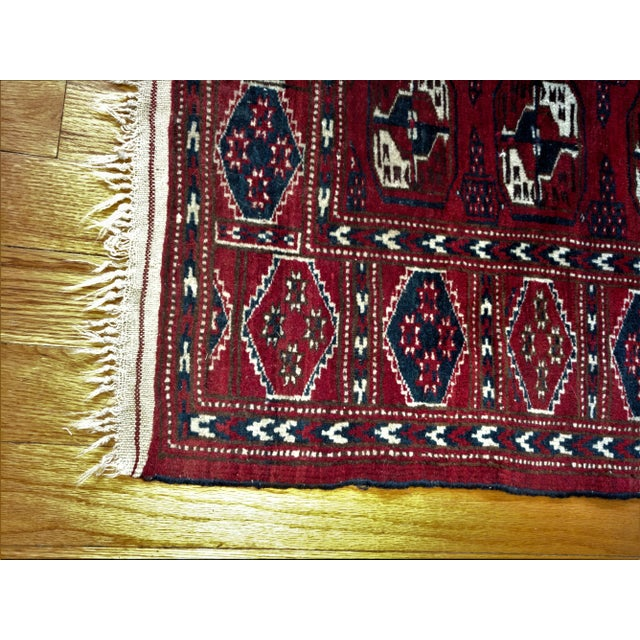 "Antique North Indian Wool Area Rug Hand Knotted and dyed with vegetable dyes. Measures 5.3' X 3.5' Pile is approx. 1/4""..."