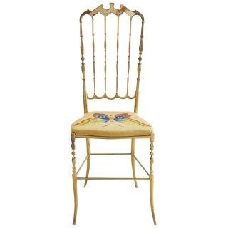 Italian Brass Chiavari Chair With Needlepoint Butterfly For Sale
