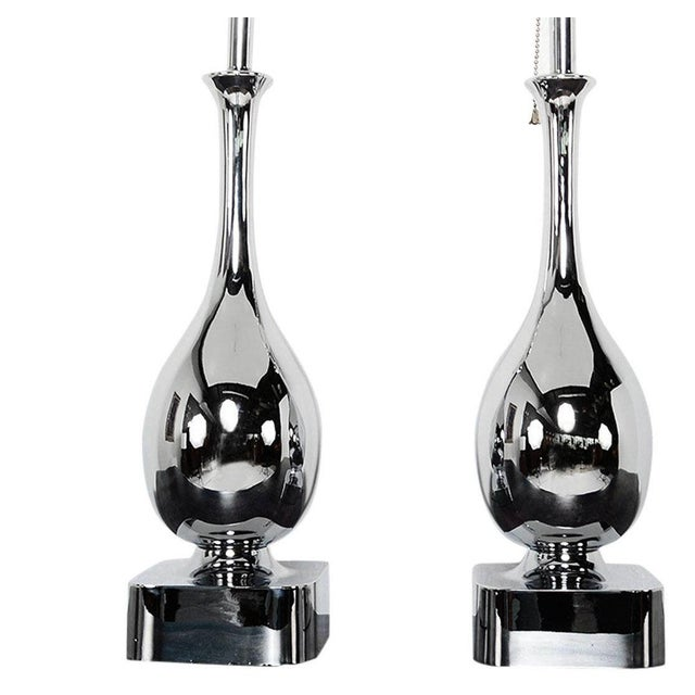 For your consideration a pair of two table lamps. New chrome-plated finish and rewired. Lamps in mind condition ready to...