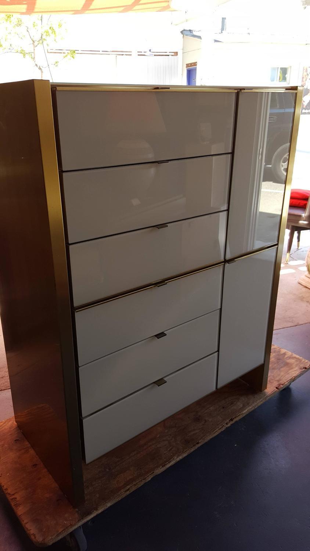 Ello Furniture Tall Glass U0026 Brass Dresser   Image 5 ...