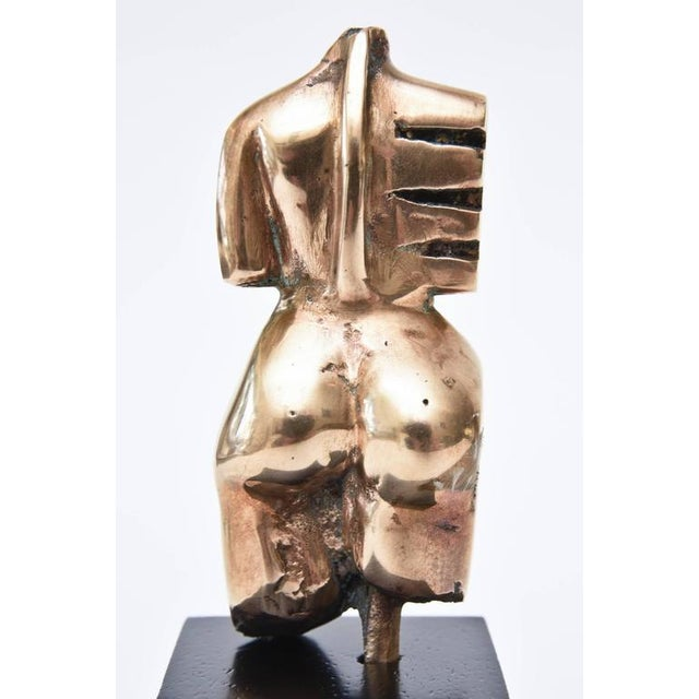 Signed Initialled Mid Century Bronze Sensual Abstract Cubist Torso Sculpture For Sale - Image 9 of 11