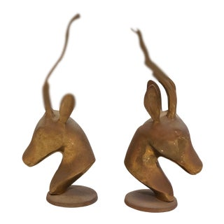 Vintage Brass Gazelle Figurines/Bookends - a Pair For Sale