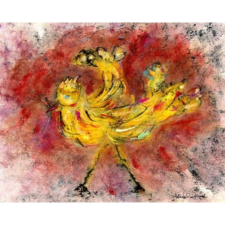 """Farmhouse Cottage Chic """"Yellow Bird, #2"""" Rooster Chicken Print For Sale"""
