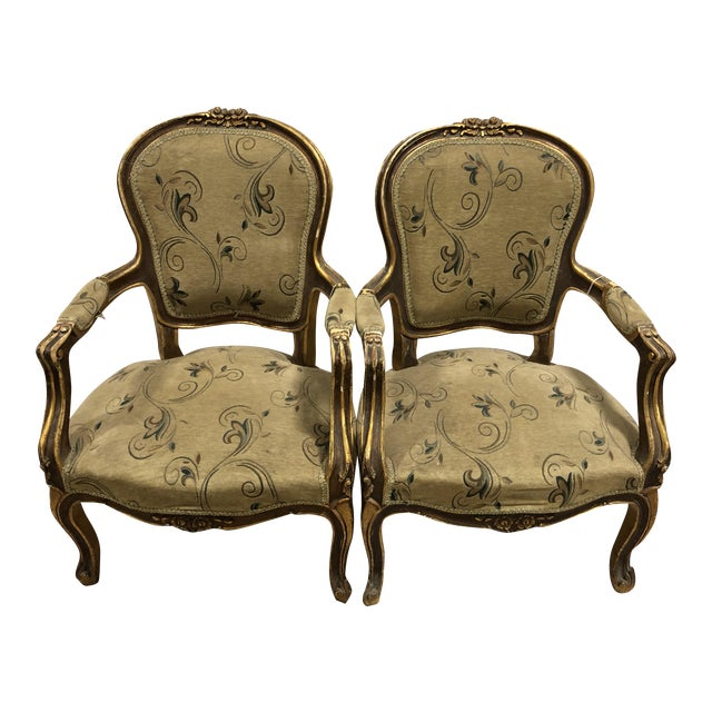 Vintage Louis XV French Hand-Carved Upholstered Arm Chairs - A Pair For Sale