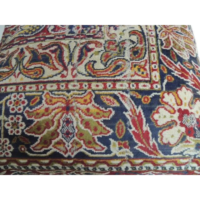 Vintage large heavy cotton velvet floral Turkish floor pillow with textured cotton/linen backing. Velcro closure. Turkish...