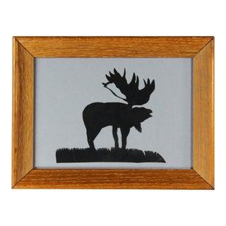 Vintage Folk Art Paper Cut Moose Silhouette For Sale