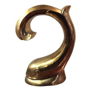 1970s Stylized Brass Dolphin For Sale